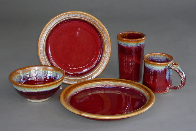Handmade Pottery Dinnerware ~ Copper Red glaze