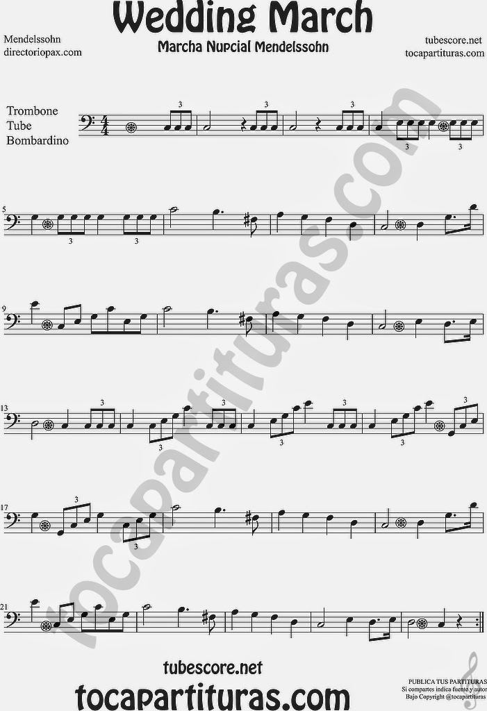Marcha Nupcial Partitura de Trombón, Tuba Elicón y Bombardino Sheet Music for Trombone, Tube, Euphonium Music Scores Wedding March by Mendelssohn