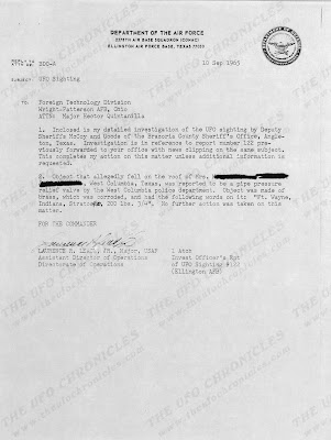 UFO Incident Damon, Texas Report To FTD  9-10-1965