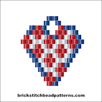 Free intermediate brick stitch earring pattern color chart.