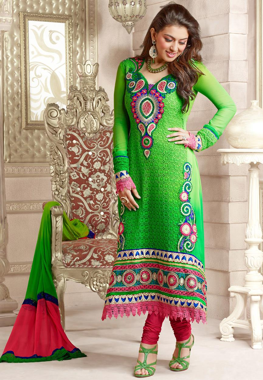 Hansika Photoshoot Photos In Green Colour Salwar Kameez