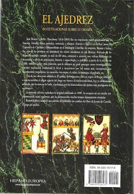 Contraportada del libro de Josep Brunet i Bellet sobre el origen del ajedrez