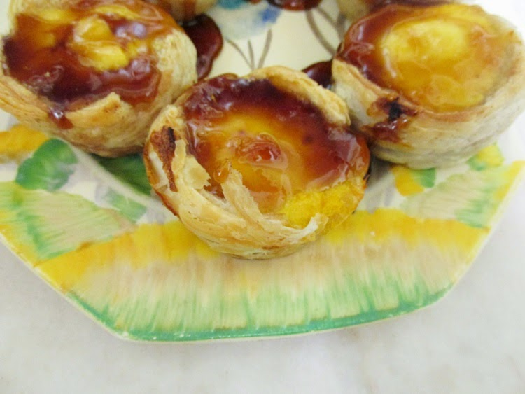 Portuguese Tarts - custard in cinnamon pastry with caramel
