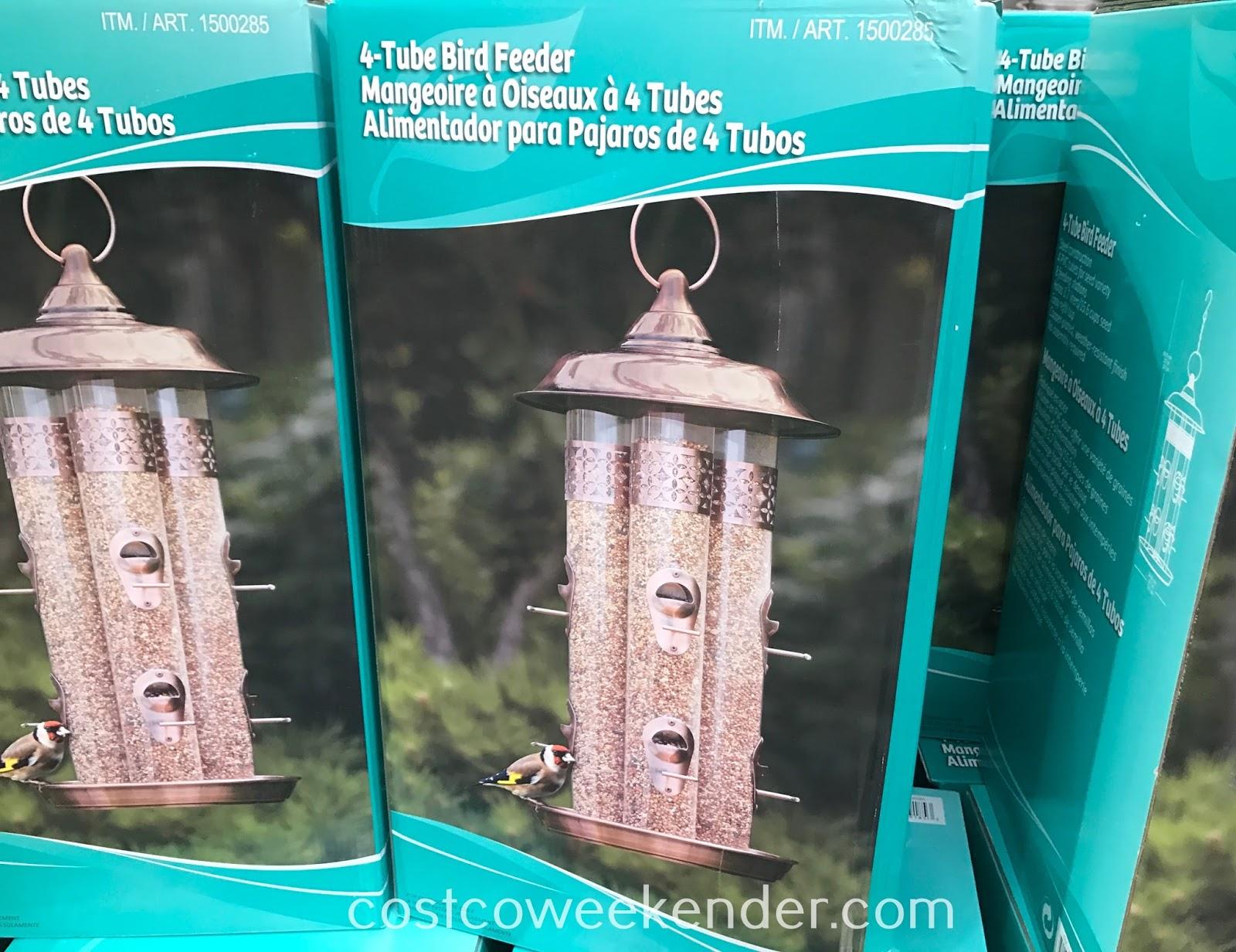 Invite birds to come over with the StyleCraft 4-Tube Bird Feeder