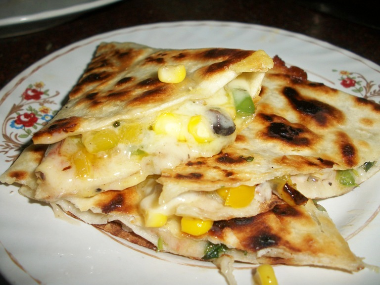 Rice And Chicken Yellow Quesadilla