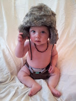 photoshoot, furry hat, six month old baby