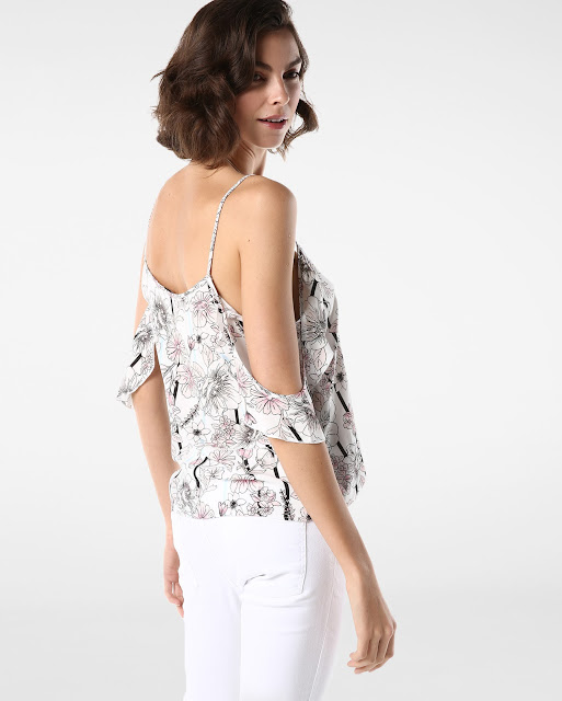 Moda Blusa Floral Off Shoulder