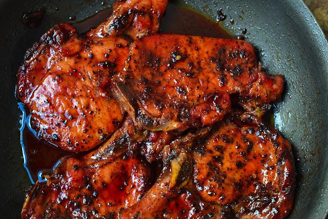 Greedy Girl Sorrel glazed smoked pork chops
