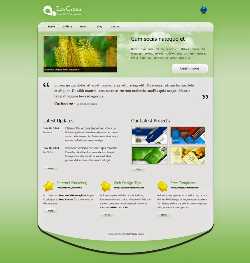 Green color website templates