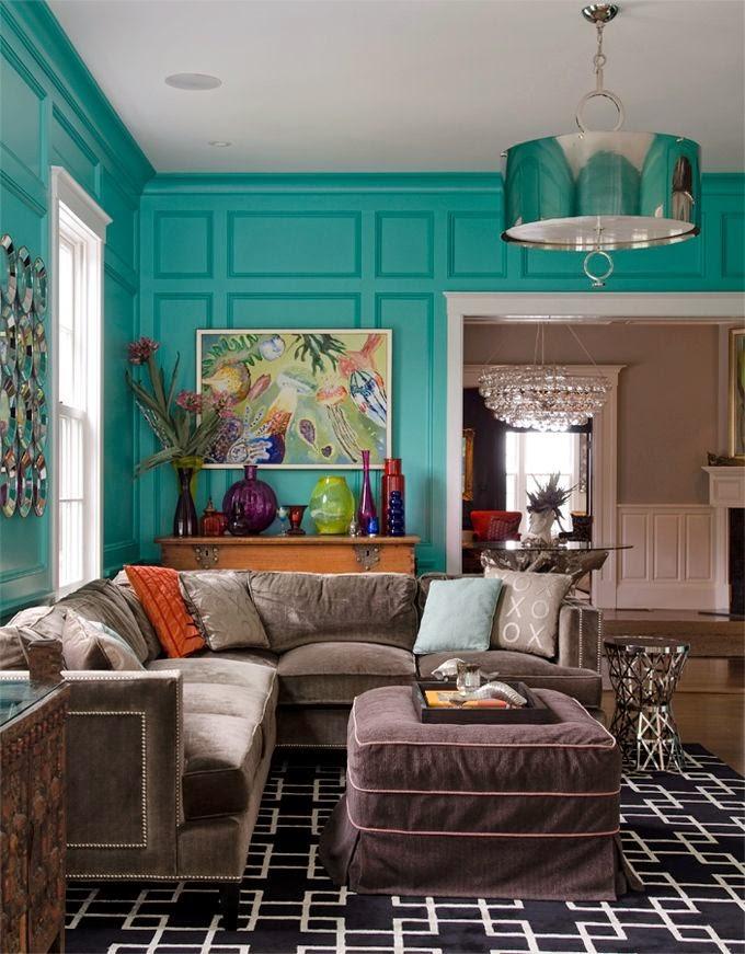 decoración de salas en color aguamarina