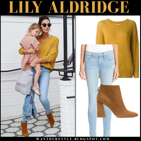 Lily Aldridge in mustard isabel marant risha sweater, skinny jeans and suede ankle boots what she wore model style