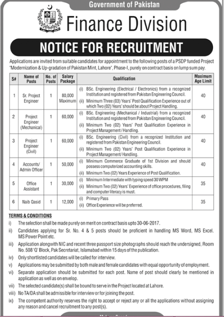 Project Engineer (Civil) Required in Finance Division Government of Pakistan ~ Civil Engineering Blog