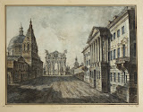 Strastnaya Square by Fyodor Alekseyev - Architecture, Landscape Drawings from Hermitage Museum