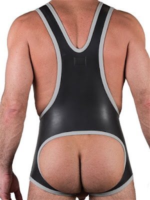 665 Leather Neoprene Open Crotch Wrestling Singlet Black-Grey Back Gayrado Online Shop