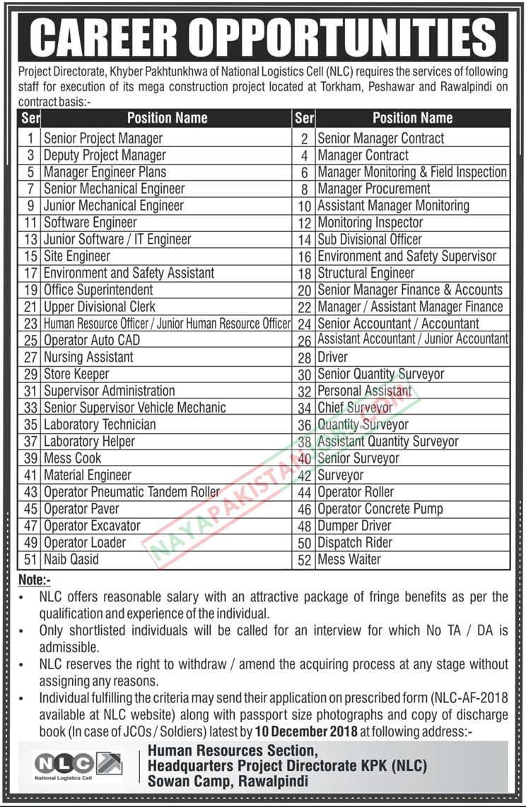 Jobs-in-National-Logistics-Cell-NLC Job Application Form Of Pof on big lots, free generic, blank generic, part time, sonic printable,