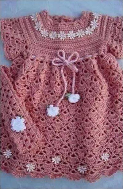Patrón #1182: Vestido de Bebe a Crochet