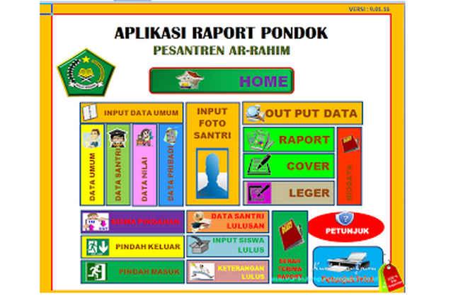 Download Gratis APLIKASI RAPORT UNTUK PONDOK PESANTREN FORMAT EXCEL