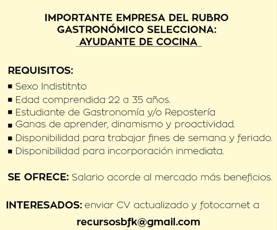 Buscar Trabajo De Ayudante De Cocina | Bolsa De Trabajo Paraguay Empleos Ayudante De Cocina