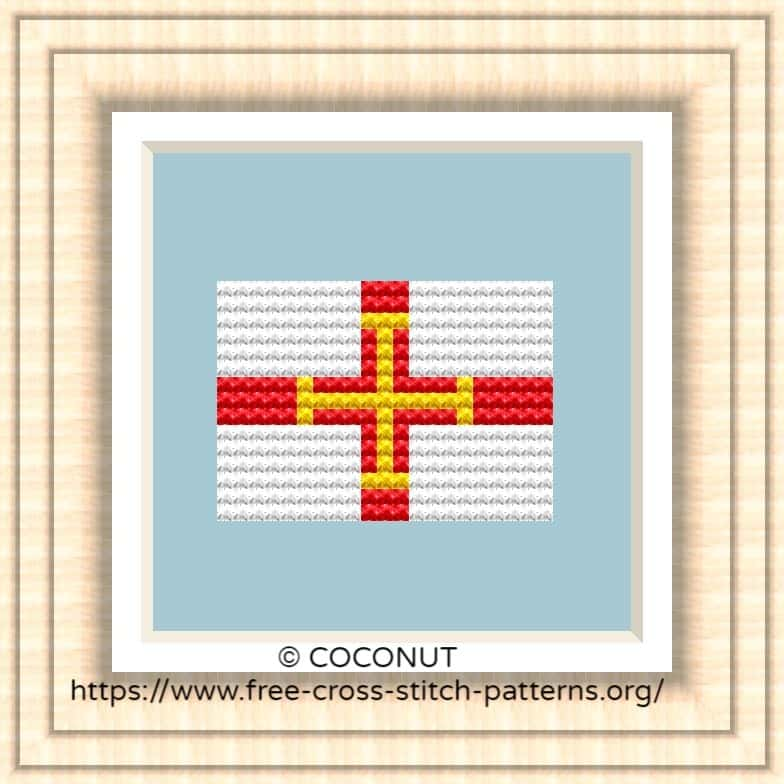 NATIONAL FLAG OF GUERNSEY CROSS STITCH CHART