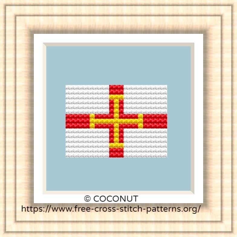 NATIONAL FLAG OF GUERNSEY CROSS STITCH CHART