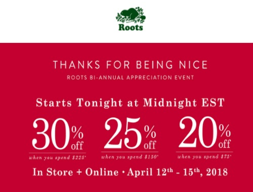 Roots Bi-Annual Appreciation Event Up To 30% Off