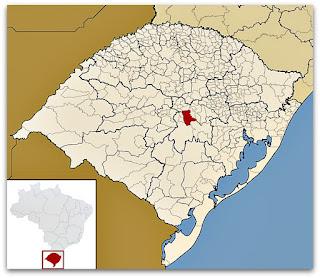 Cidade de Candelária no mapa do Rio Grande do Sul