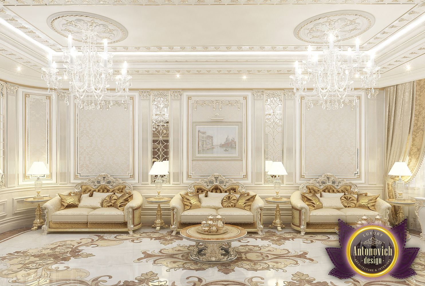 Luxury antonovich design uae living room interior design for Indoor design