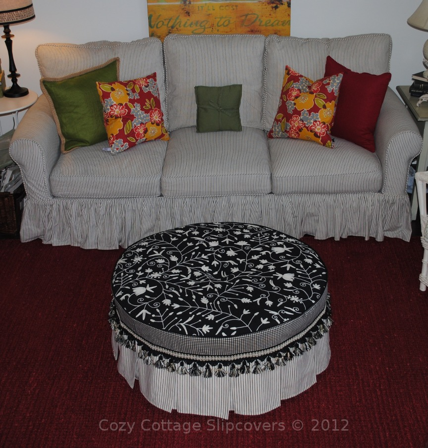Cozy Cottage Slipcovers Round Ottoman Slipcover
