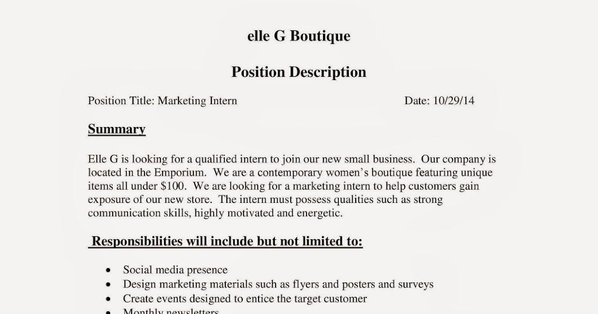 URI CBA Internship/Job Information elle G Boutique - Marketing Intern - marketing intern job description