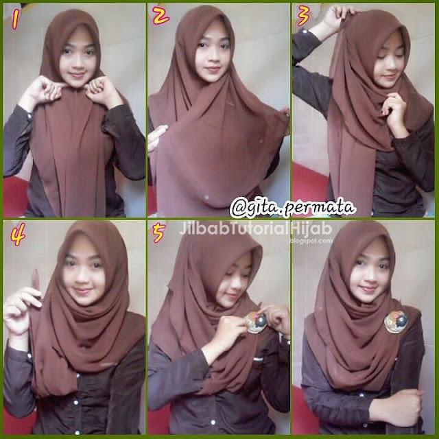 Tutorial Hijab Segi Empat untuk Sehari-hari persegi dan segitiga