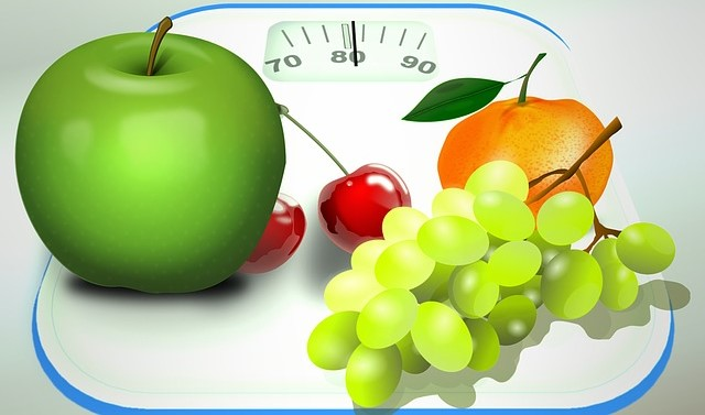 Weight-Loss Scale, Apple, Grapes, Tangerine