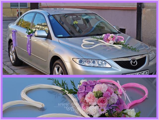 ślubna dekoracja samochodu różowa