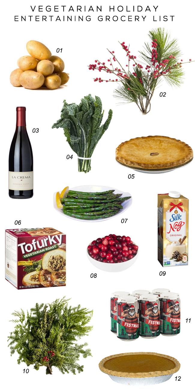 Vegetarian Holiday Entertaining Grocery List (via Bubby and Bean)