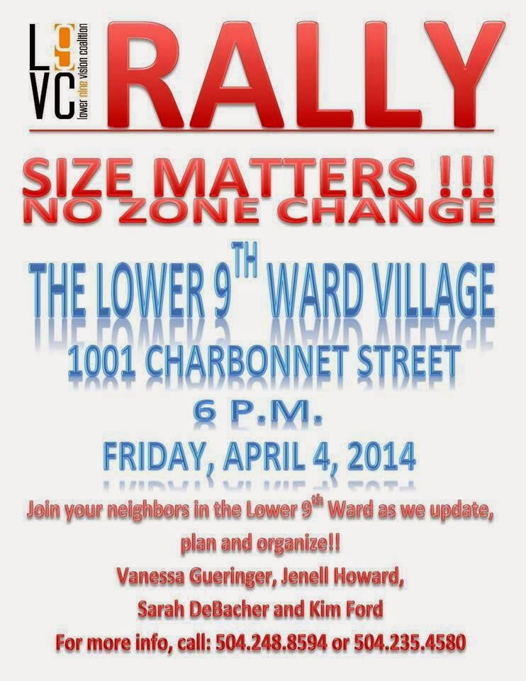 Size Matters: rally to address riverfront condo towers development tomorrow 6pm 1001 Charbonnett St