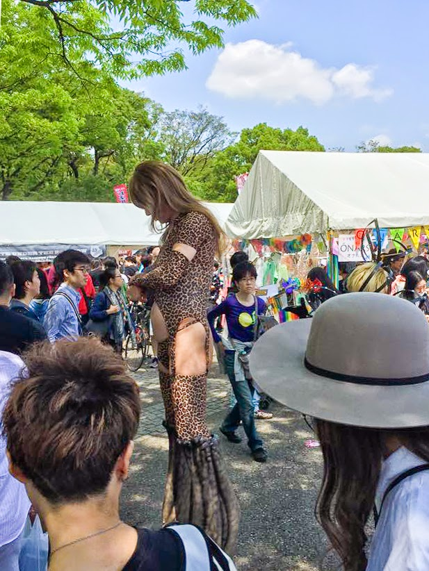 A very tall drag queen, Tokyo Rainbow Pride 2015, Tokyo, Japan.