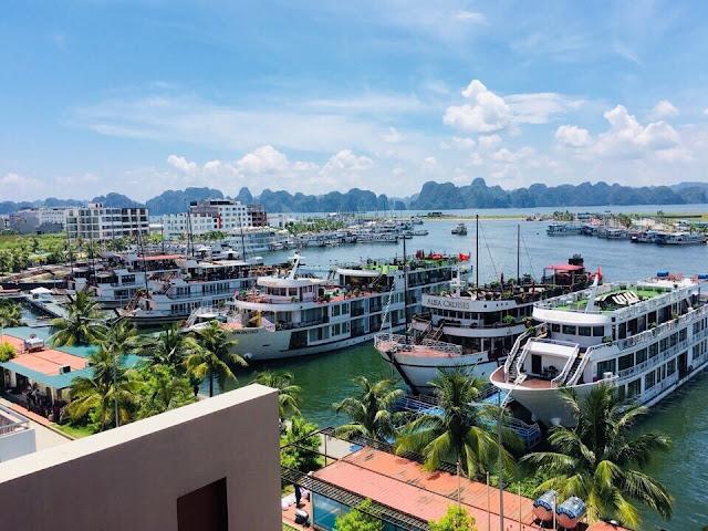 Những con tàu tấp nập khách du lịch đi thăm quan ngắm vịnh