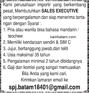 Lowongan Kerja Sales Executive Batam