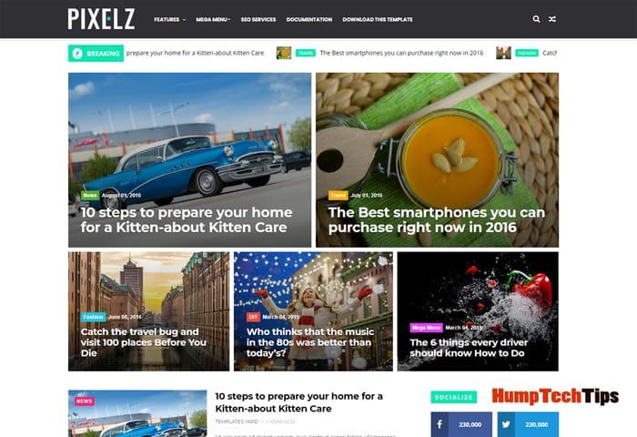 Pixelz Blog Responsive Magazine Blogger Template
