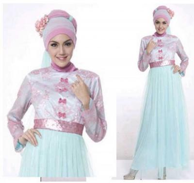 Model Baju Gamis Muslim Brokat Untuk Pesta Elegan