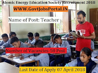 Atomic Energy Education Society Recruitment 2018– 50 Post Graduate Teacher, Trained Graduate Teacher