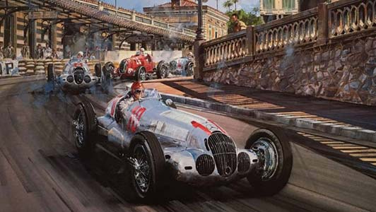Race of the Titans - Monaco 1937 - print by Nicholas Watts, autographed