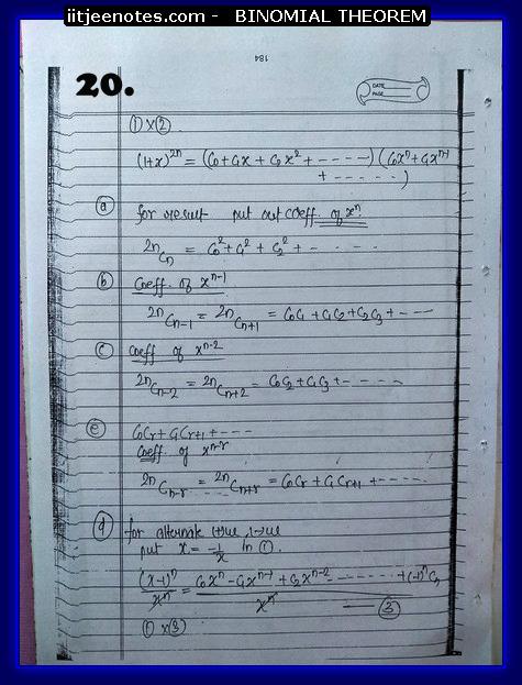 binomial theorem notes -maths