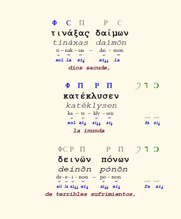 Figura 8. Reconstrucción de los versos 9-11 del fragmento del coro del Orestes de Eurípides.