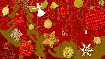 Rode kerst wallpaper met gouden versieringen