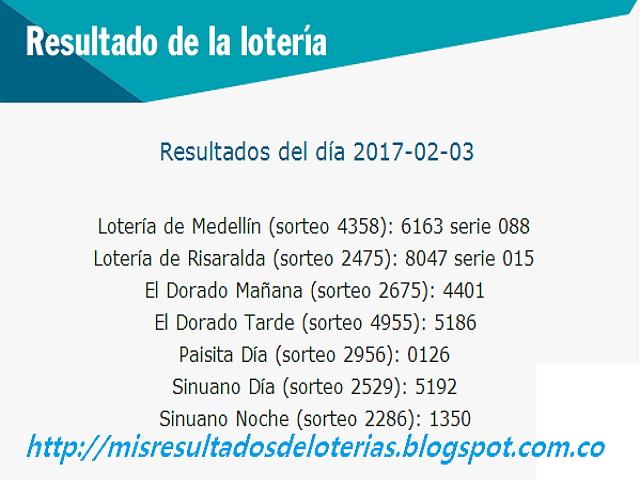 Loterias de Hoy - Resultados diarios de la Lotería y el Chance - Febrero 03 2017