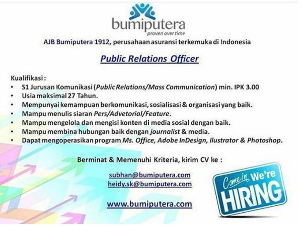Lowongan Kerja Public Relation Officer Bumiputera
