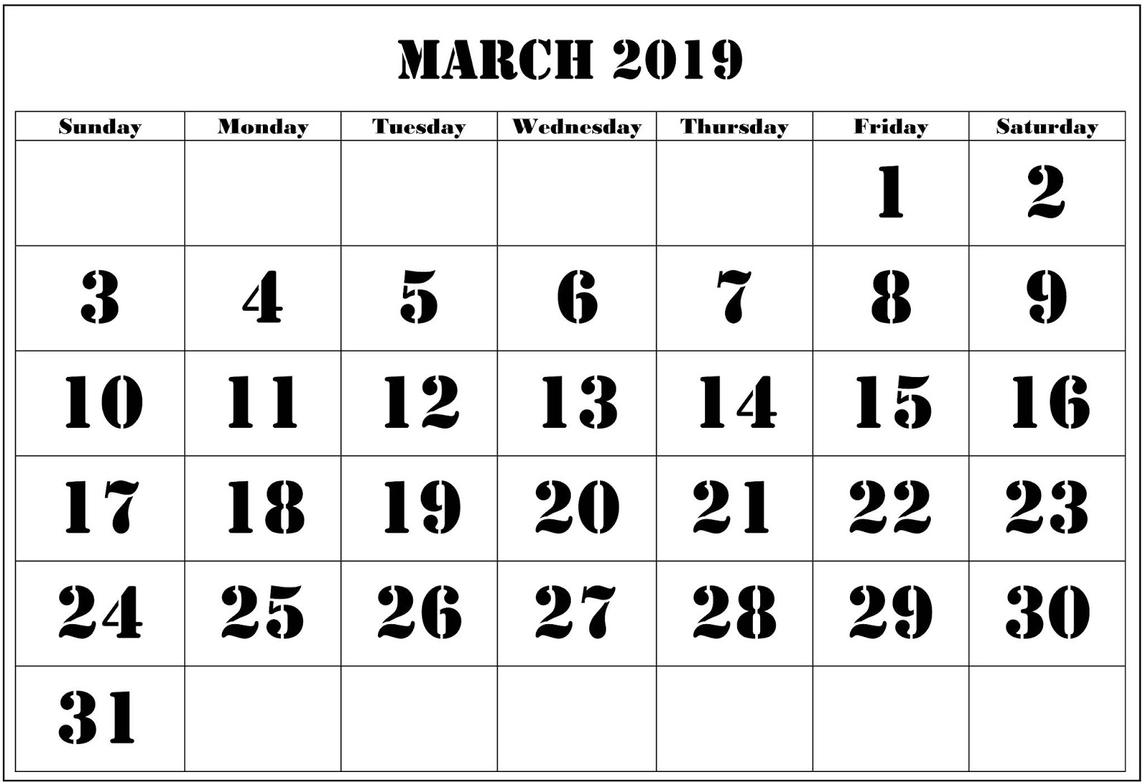 March 2019 Calendar Template Download