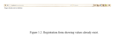 Figure 5.2: Registration form showing values already exist.