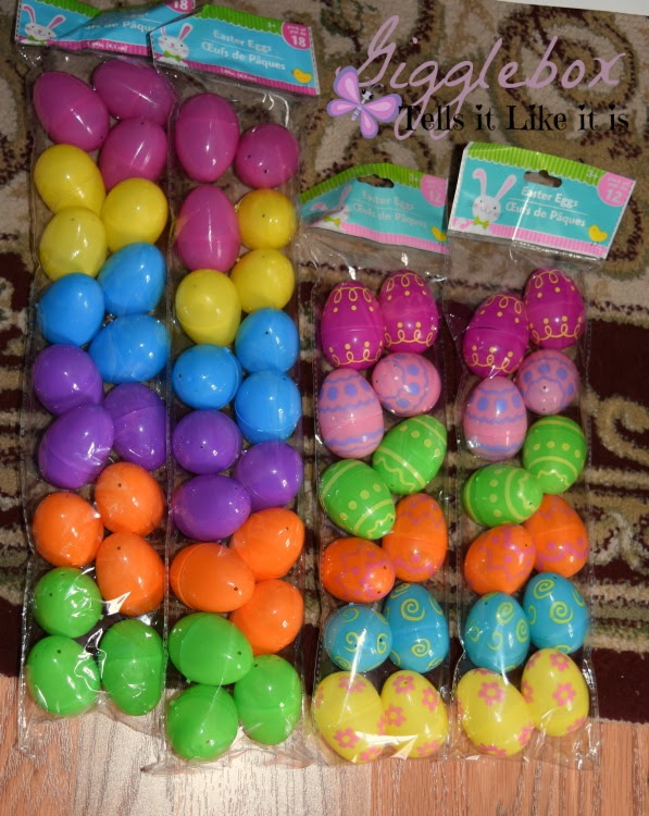 Easter egg garland gigglebox tells it like it is simple and cheap easter decoration made with a gift bag plastic eggs and string easter negle Image collections