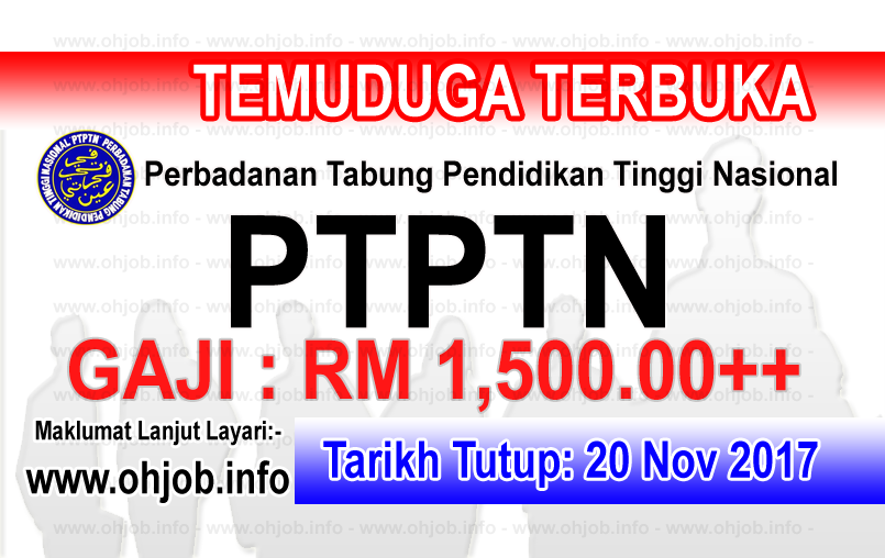 Jawatan Kerja Kosong PTPTN - Perbadanan Tabung Pendidikan Tinggi Nasional logo www.ohjob.info november 2017